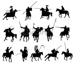 Knights and medieval warriors on horseback detailed silhouettes set  Vector