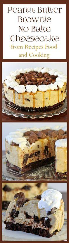 Peanut Butter Brownie No Bake Cheesecake #SundaySupper