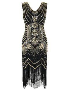 47e924351e2 PrettyGuide Women 1920s Dress V Neck Beaded Sequin Deco Gatsby Inspired  Flapper Dress M 8-10 Gold at Amazon Women s Clothing store