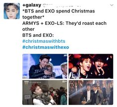 Even though I'm an EXO-L, I wish the best for both BTS and EXO. Merry Christmas!!!<<<I'm an Army, but really like EXO. Let's all be friends❤️