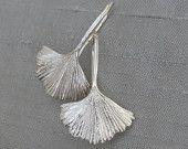 Ginkgo Leaf Earrings Sterling Artisan Silver Fine Jewelry. $82.00, via Etsy.