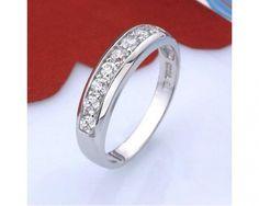 chicmarket.com - 18K White Gold Plated Simulated Diamond Wedding Band - Size 6