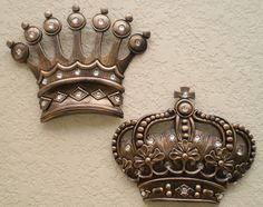 NEW Gold Crown Wall Decor Art Royalty King Queen Prince Princess His Hers Gifts #Unbranded