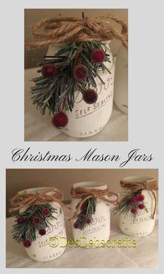 Beautiful Christmas Mason Jars #christmas #ad #masonjar #holiday #farmhousestyle #fixerupper #rustic