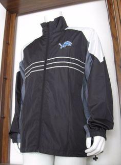 L Mens Reebok S.I. Detroit Lions Full Zip Windbreaker Jacket Black large EUC #Reebok #DetroitLions
