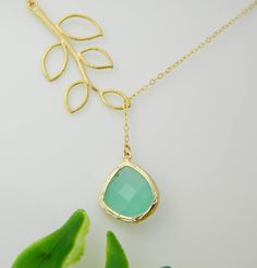 Aqua Necklace Lariat Leaf Necklace Gold Framed by DanglingJewelry, $28.00