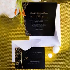 #VINTAGE black and #GOLD damask wedding party invitations.