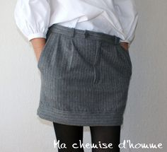 Stylish skirt made out of old men's suit pants. To make with Jase's old pants.