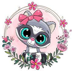 Cute Cartoon Images, Cute Cartoon Animals, Rare Animals, Strange Animals, Floral Drawing, Doodle Inspiration, Cute Animal Drawings, Woodland Creatures, Fantasy Girl