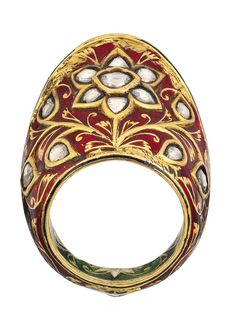 India   A diamond and enamel gold archery ring   Probably 19th century   2'750£ ~ sold (Oct '12)