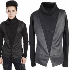 Black Long Sleeve Turtleneck Retro Rockabilly Fashion Tops Shirts Men SKU-11409323