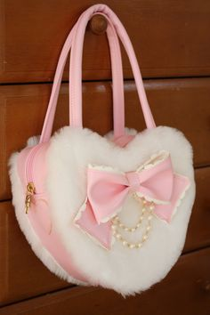 "White furry pink heart bag, with a bow and pearlsdollydollydolly: "" (via dalaranhime, sweetlolitas) ""First gentle snow Fashion Handbags, Purses And Handbags, Fashion Bags, Kawaii Accessories, Fashion Accessories, Cute Pink, Pretty In Pink, Mode Lolita, Kawaii Bags"