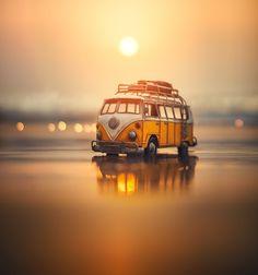 Magical miniature toy car still life photography by fine art photographer ashraful arefin Miniature Photography, Cute Photography, Still Life Photography, Whimsical Photography, Van Hippie, Wolkswagen Van, Combi Wv, Miniature Cars, Cute Cars