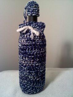 Crocheted Blue and White Wine Bottle Cozy by steveross4 on Etsy, $8.00