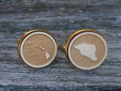 Wood STATE Cufflinks. HAWAII. Laser Engraved. by TreeTownPaper