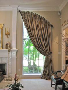 Custom Arched Iron Rod by Fabrics Second To None Curtains For Arched Windows, Small Window Curtains, Home Curtains, Modern Curtains, Curtain Styles, Curtain Designs, Rustic Curtain Rods, Arched Window Treatments, Separating Rooms