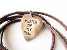Mens Necklace Hand Stamped Metal Guitar Pick Necklace