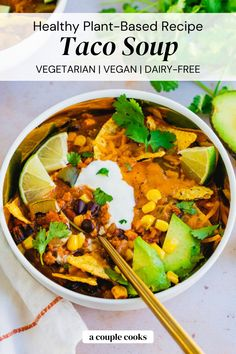 Everyone loves this easy taco soup recipe! It's full of flavor and quick to whip up, topped with all your favorite taco toppings. | healthy dinner recipes | dinner recipes | soup recipes | mexican food recipes | vegetarian recipes | vegan recipes | dairy free recipes | gluten free recipes | #tacosoup #easytacosoup #tacosouprecipe #soup Chowder Recipes, Soup Recipes, Recipes Dinner, Free Recipes, Easy Recipes, Dinner Ideas, Good Healthy Recipes, Healthy Soup, Healthy Meals