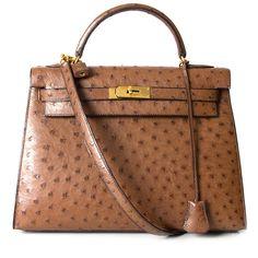 4254483c72b Hermès Kelly Bag Ostrich GHW With Strap 2de hands 32 net als nieuw 100% echt