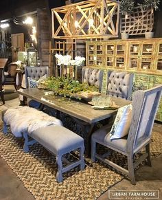 Our Farm Tables are Best accompanied by our Upholstery Line! Head to our Distribution Center in Dallas, TX to Check them Out (also available in OKC)! We are Open Sunday's Farmhouse Style, Farmhouse Decor, Urban Farmhouse Designs, Outdoor Furniture Sets, Outdoor Decor, Dining Bench, Upholstery, Indoor, Table Decorations
