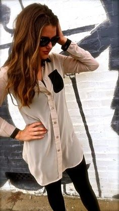 Long blouse with black legging fashion | Fashion World