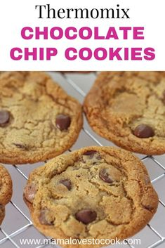These gorgeous chewy Thermomix choc chip cookies are a real classic. Everyone knows homemade cookies are the best and this Thermomix recipe is so quick and easy to make, with your dough ready in just minutes. Delicious. #thermomixrecipes #cookiesrecipes #recipesforbaking