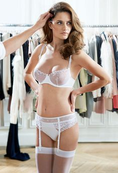 New Delice Demi Cup, Thong and Suspender Belt in White Simone Perele 2014 http://lingeriebriefs.com/category/partner-spotlight/spotlight-on-simone-perele/