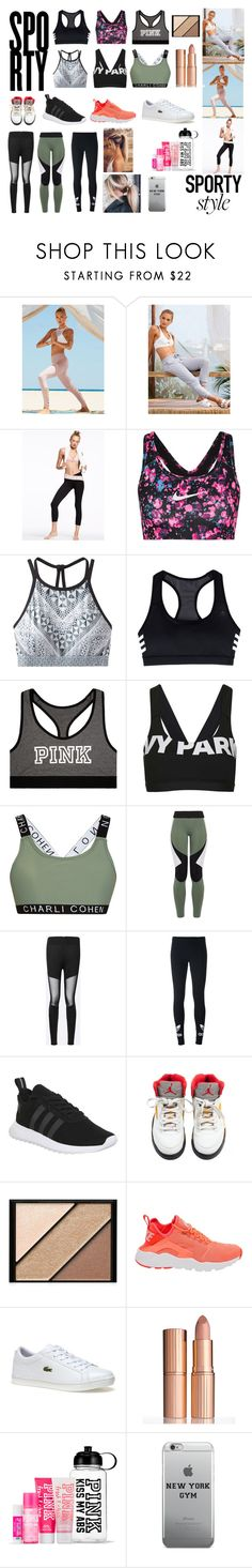 """""""Sporty style"""" by freyarose224 ❤ liked on Polyvore featuring Victoria Sport, NIKE, prAna, adidas, Victoria's Secret, Topshop, Charli Cohen, adidas Originals, Elizabeth Arden and Lacoste"""