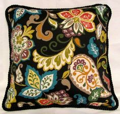 French Country Romantic Cottage Garden Pillow Provence Provencal Floral Paisley Blue Yellow Green Red Black