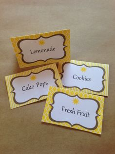 12 Sunshine Food Label Tent Cards or Place Cards - Baby Shower, Wedding, Birthday - Yellow & Grey DIY