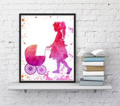 Nursery print Girl print Digital print Doll by InstantDownloadArt1
