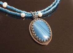 Swedish Blue Slag Sterling Silver Pearl Beaded by ajjewelrydesigns, $100.00