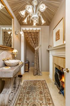 There's a fireplace in the powder room.