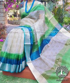 Elegant Kota Silk Saree with block print and zari border