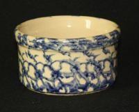 RRP Roseville Pottery BlueTan Spongeware Crock Jar Bowl | eBay