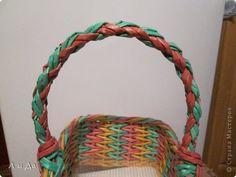 Мастер-класс Поделка изделие Плетение Четырёхгранный двухцветный шнур Ручка для плетёных корзинок Трубочки бумажные фото 1