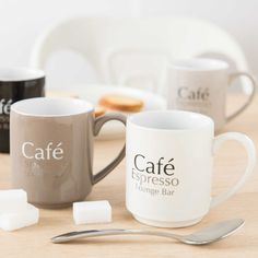 4 Kaffeebecher LOUNGE aus Keramik + ...