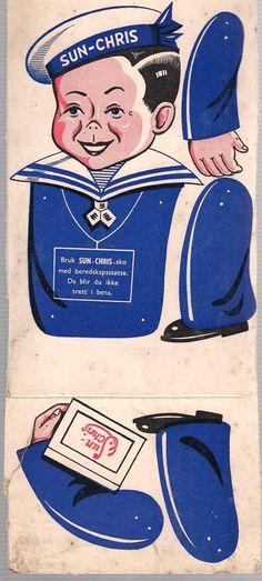 Reklamesak for SUN CHRIS SKO. Sprellemann. 60-70 tallet