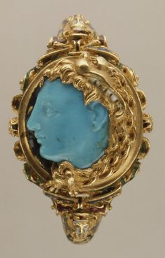 Gold Ring: Produced in Italy, Mid 16th Century w/ Carved Cameo Portrait: Produced in Greece, 4th Century BCE  --  Thought to be a portrait of Alexander the Great.  Metropolitan Museum of Art