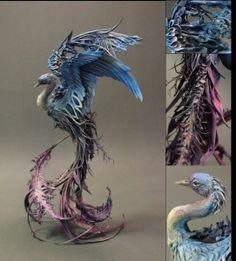 Blue and Violet Avian - original handmade OOAK clay art bird sculpture Bird Sculpture, Animal Sculptures, Magical Creatures, Fantasy Creatures, Ellen Jewett, Clay Dragon, Creature Design, Clay Art, Art Dolls