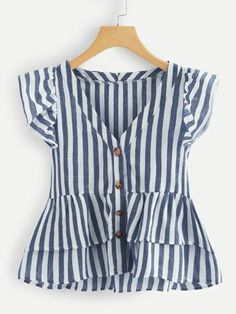 Shop V Neckline Single Breasted Striped Babydoll Top online. SheIn offers V Neckline Single Breasted Striped Babydoll Top & more to fit your fashionable needs. Cute Blouses, Plus Size Blouses, Frocks For Girls, Girls Dresses, Girl Outfits, Cute Outfits, Fashion Outfits, Blouse Designs, Dame