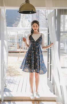 Shop feminine, adorable & ladylike Korean clothing at CHLO. Find out items ranging from dresses, tops to bottoms that will let out an instant charm. Cute Dress Outfits, Best Casual Outfits, Teen Fashion Outfits, Casual Summer Dresses, Korean Outfits, Trendy Dresses, Cute Dresses, Fashion Dresses, Korean Outfit Summer