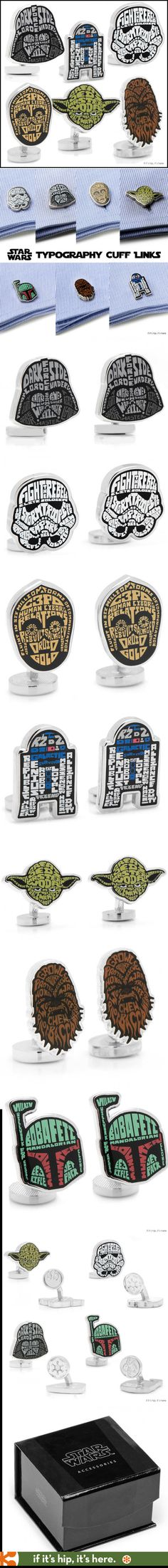 Star Wars Typography Cuff Links. Beautifully designed and in an official collector's box. #StarWars #Typography