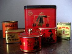 6 alte Tee Blechdosen Teekanne Wilken Tee Messmer Tee in Sammeln & Seltenes, Reklame & Werbung, Werbeartikel   eBay