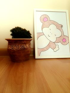 Hand made drawing nursery wall art decor monkey