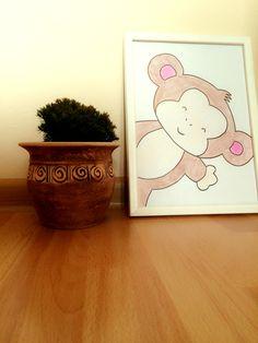 Hand made drawing nursery wall art decor monkey