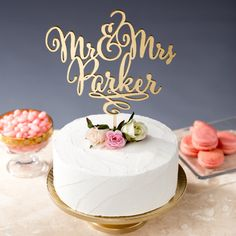 Gold Mr Mrs Cake Topper Custom Cake Topper for door BetterOffWed