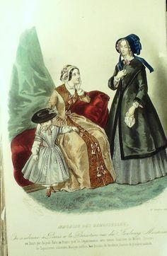 October 1845  +++++++++  GRAVURE de MODE AUTHENTIQUE-X169-MAGASIN DEMOISELLES-ROBES DE PROMENADES-1845