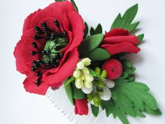 Poppy jewelry Flowers combs Floral hair comb Flower fascinator Delicate comb Red Wedding comb One of a kind Bridal fascinator Comb  To create this decoration I used a bright red poppy as a symbol of female youth, beauty and charm. Add to that the bright colors, using decorative inflorescences and berries Comb can be used every day, almost weightless and very easy to use.  All the elements are secure, but if you want to extend the life of the product keep it away from the falls, heat and…
