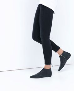 FLAT LEATHER BOOTIES-View all-Shoes-WOMAN | ZARA United States
